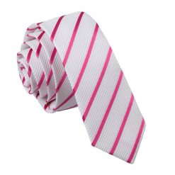 White & Hot Pink Single Stripe Skinny Tie