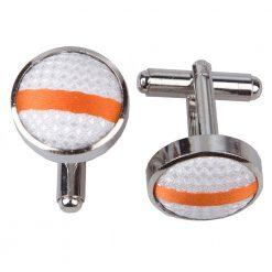 White & Orange Single Stripe Cufflinks