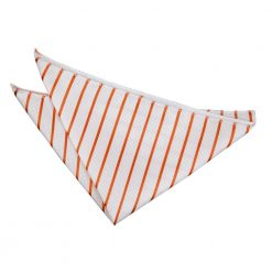 White & Orange Single Stripe Pocket Square