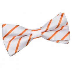 White & Orange Single Stripe Pre-Tied Bow Tie