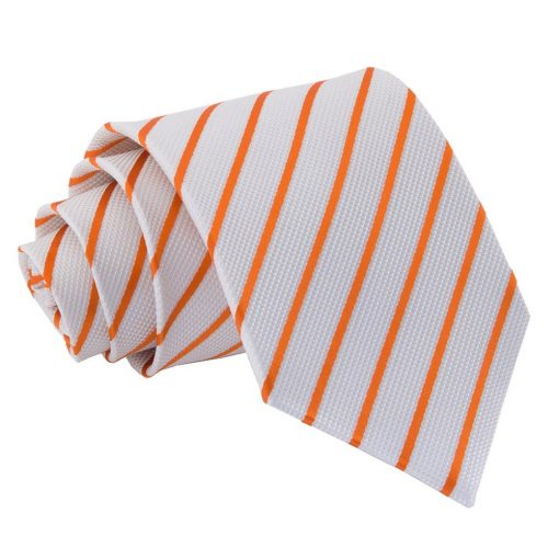 White & Orange Single Stripe Classic Tie