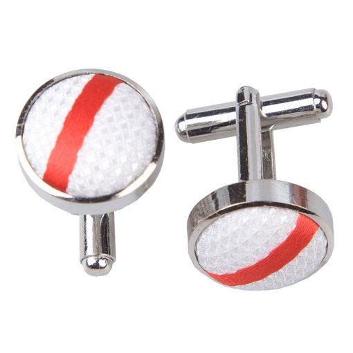 White & Red Single Stripe Cufflinks
