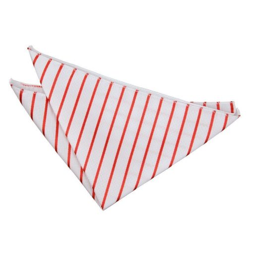 White & Red Single Stripe Pocket Square