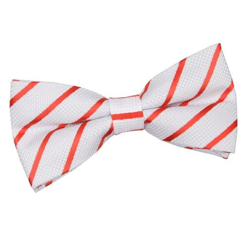 White & Red Single Stripe Pre-Tied Bow Tie