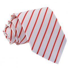 White & Red Single Stripe Classic Tie