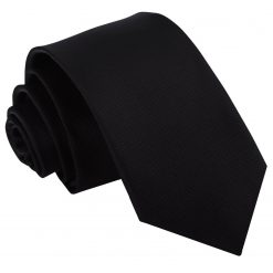 Black Solid Check Slim Tie