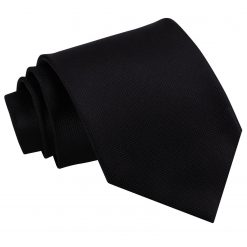 Black Solid Check Classic Tie