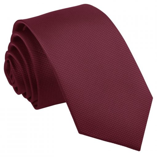 Burgundy Solid Check Slim Tie