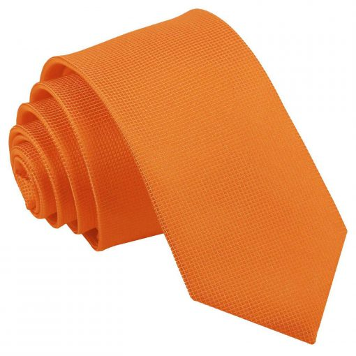 Celosia Orange Solid Check Slim Tie
