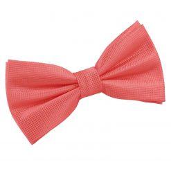 Coral Solid Check Pre-Tied Bow Tie