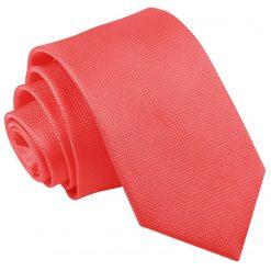 Coral Solid Check Slim Tie
