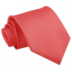 Coral Solid Check Classic Tie