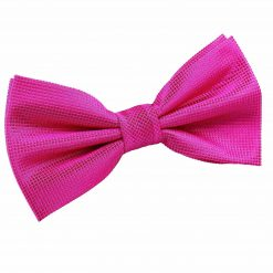 Fuchsia Pink Solid Check Pre-Tied Bow Tie