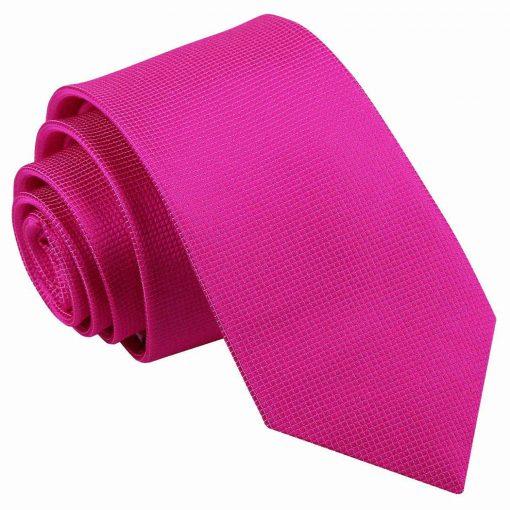 Fuchsia Pink Solid Check Slim Tie