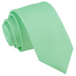 Mint Green Solid Check Slim Tie