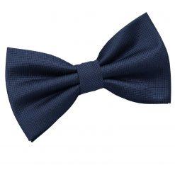 Navy Blue Solid Check Pre-Tied Bow Tie