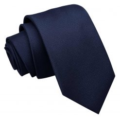 Navy Blue Solid Check Slim Tie