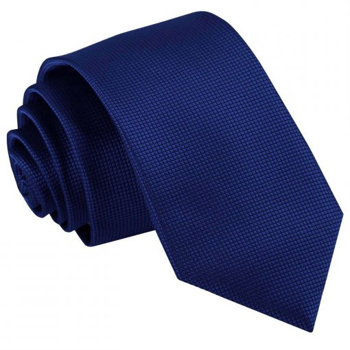 Royal Blue Solid Check Slim Tie