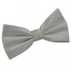 Silver Solid Check Pre-Tied Bow Tie