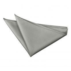 Silver Solid Check Handkerchief / Pocket Square
