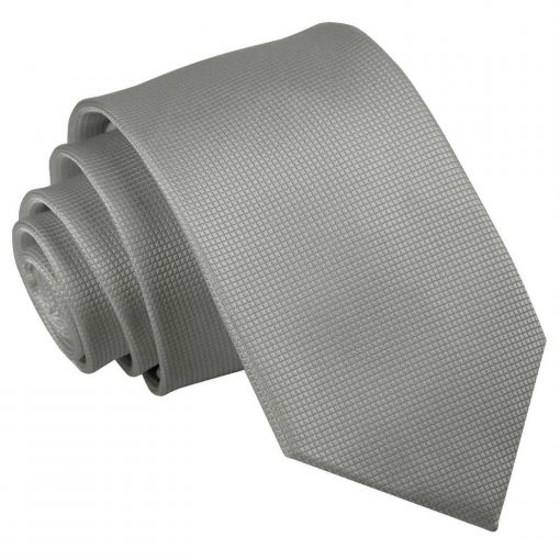 Silver Solid Check Slim Tie