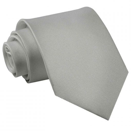 Silver Solid Check Classic Tie