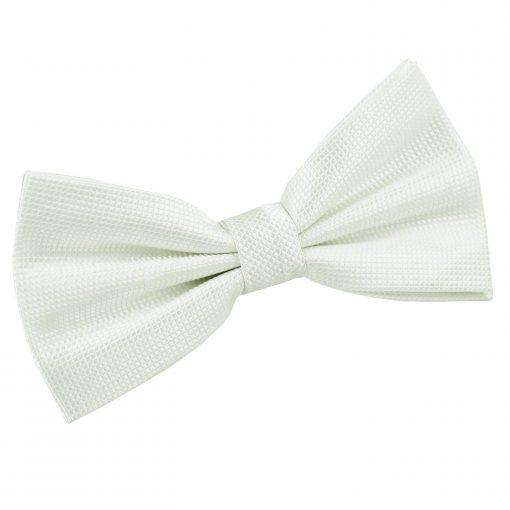 White Solid Check Pre-Tied Bow Tie
