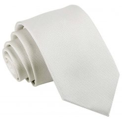 White Solid Check Slim Tie