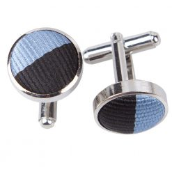 Baby Blue & Black Striped Cufflinks