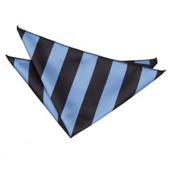 Baby Blue & Black Striped Pocket Square