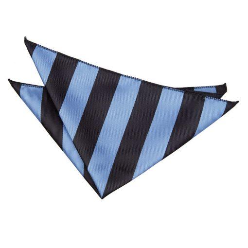 Baby Blue & Black Striped Handkerchief / Pocket Square