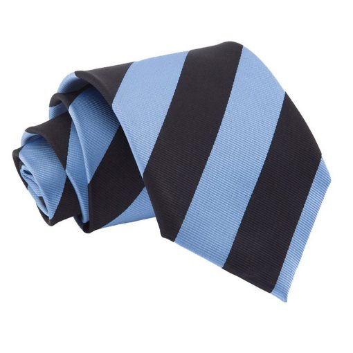 Baby Blue & Black Striped Classic Tie