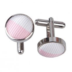 Baby Pink & White Striped Cufflinks
