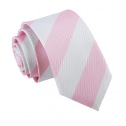Baby Pink & White Striped Slim Tie