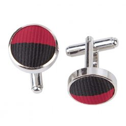 Burgundy & Black Striped Cufflinks