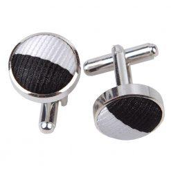 Black & White Striped Cufflinks