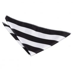 Black & White Striped Handkerchief / Pocket Square