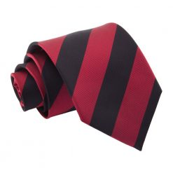 Burgundy & Black Striped Classic Tie