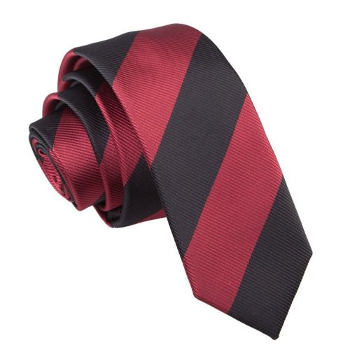 Burgundy & Black Striped Skinny Tie