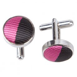 Hot Pink & Black Striped Cufflinks