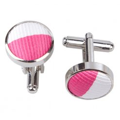 Hot Pink & White Striped Cufflinks