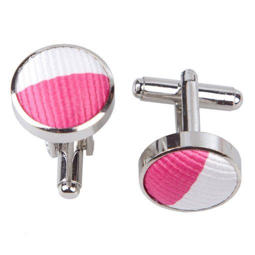 Hot Pink & White Striped Cufflinks