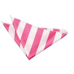 Hot Pink & White Striped Pocket Square