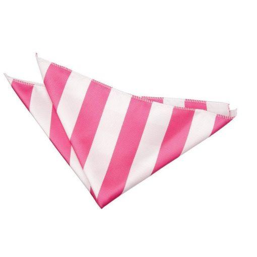 Hot Pink & White Striped Handkerchief / Pocket Square