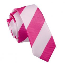 Hot Pink & White Striped Skinny Tie