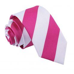 Hot Pink & White Striped Slim Tie