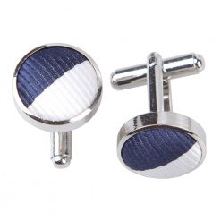 Navy & White Striped Cufflinks