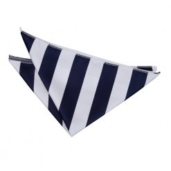 Navy & White Striped Pocket Square