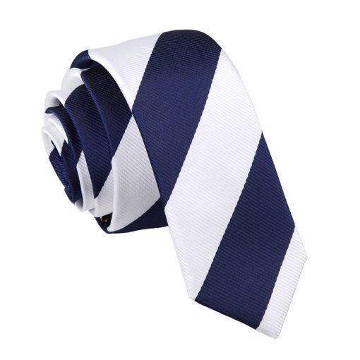 Navy & White Striped Skinny Tie
