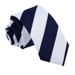 Navy & White Striped Slim Tie